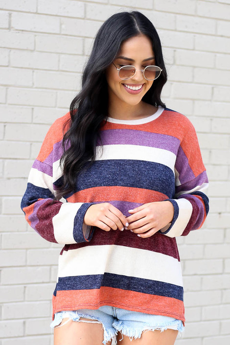 Model wearing the Striped Brushed Knit Top