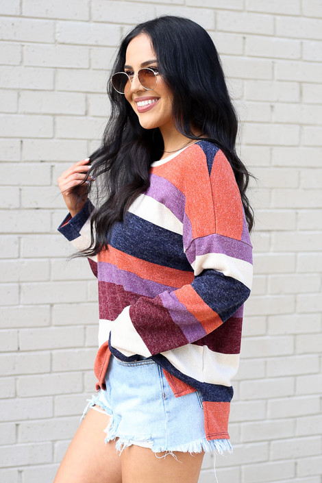 Striped Brushed Knit Top Side View