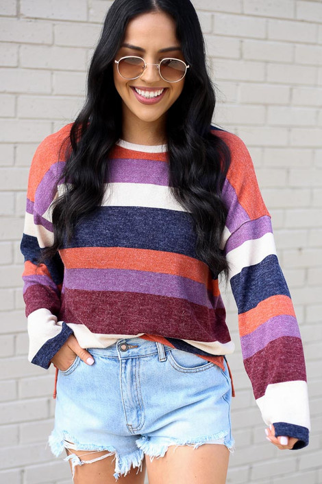 Dress Up model wearing the Striped Brushed Knit Top