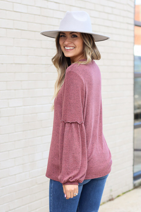 Marsala - Brushed Knit Balloon Sleeve Top Side View
