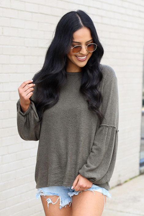 Olive - Model wearing the Brushed Knit Balloon Sleeve Top