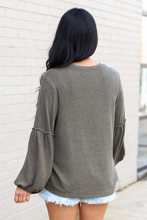 Olive - Brushed Knit Balloon Sleeve Top Back View
