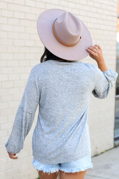 Model wearing the Brushed Knit Balloon Sleeve Top in Heather Grey Back View