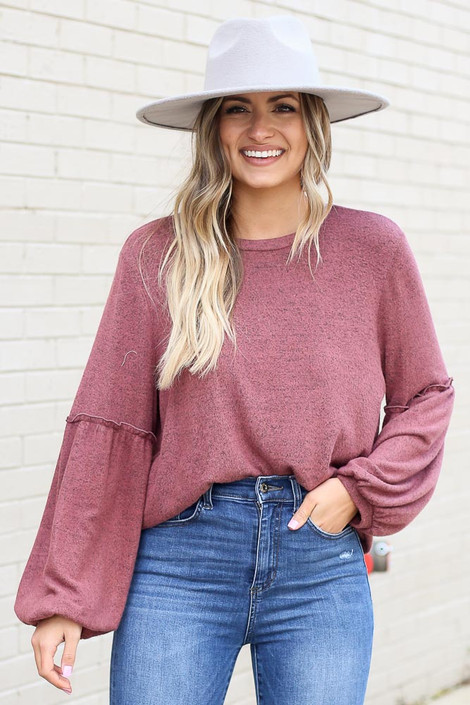 Dress Up model wearing the Brushed Knit Balloon Sleeve Top in Marsala