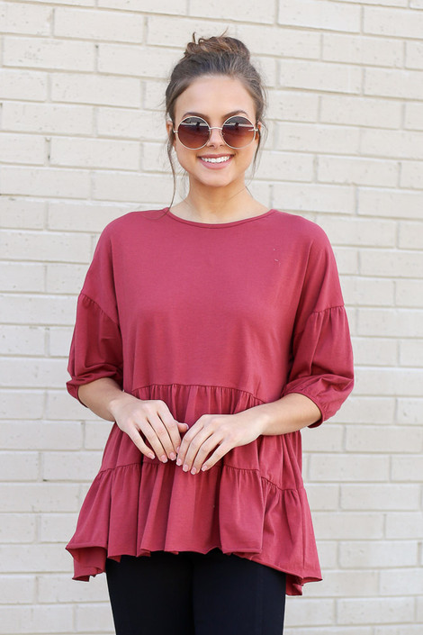Marsala - Tiered Babydoll Top from Dress Up