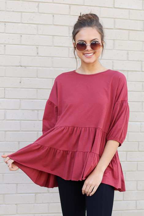 Model wearing the Tiered Babydoll Top in Marsala Front View