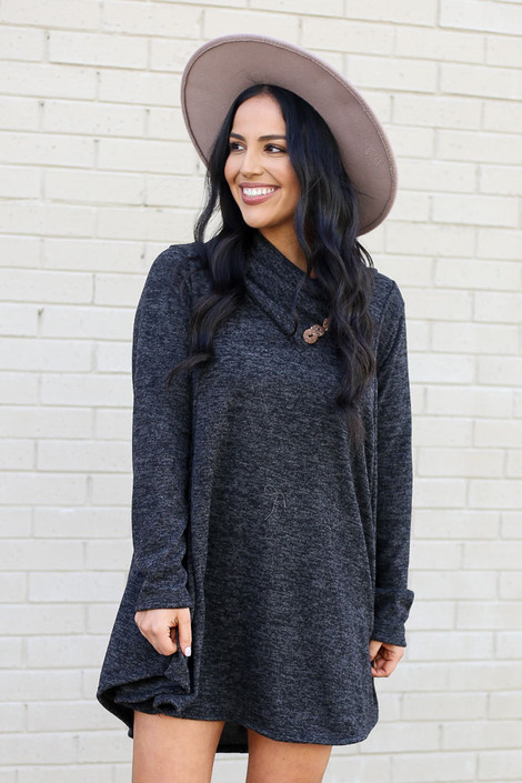 Charcoal - Crossover Cowl Neck Sweater Tunic from Dress Up