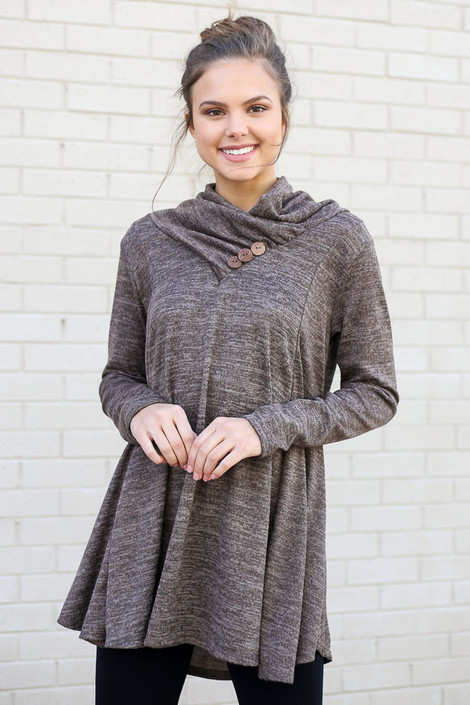 Mocha - Crossover Cowl Neck Sweater Tunic