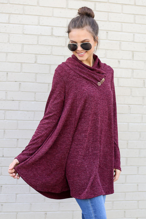 Model wearing the Crossover Cowl Neck Sweater Tunic in Burgundy from Dress Up Side View