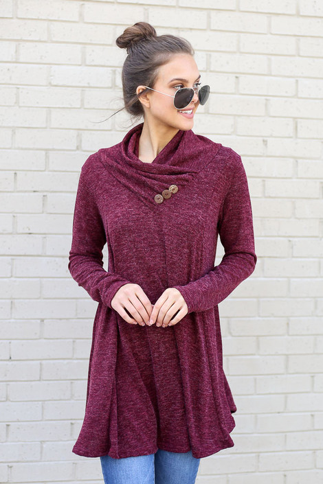 Model wearing the Crossover Cowl Neck Sweater Tunic in Burgundy from Dress Up Front View