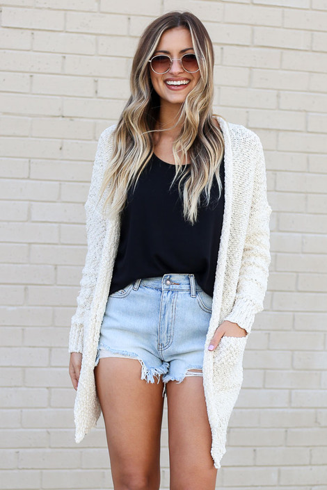 Ivory - Popcorn Knit Sweater Cardigan