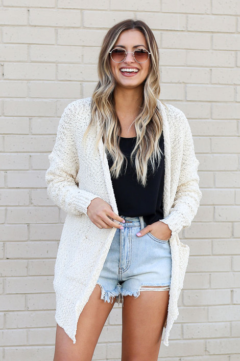 Ivory - Popcorn Knit Sweater Cardigan from Dress Up