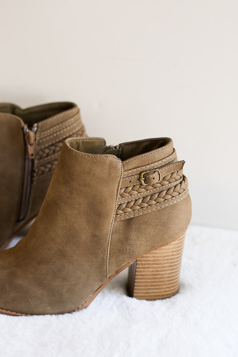 Close Up of the Braided Block Heel Ankle Booties