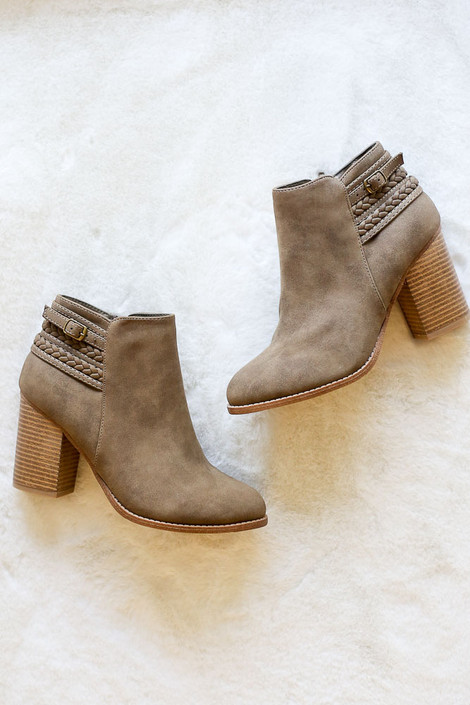 Flat Lay of the Braided Block Ankle Booties from Dress Up