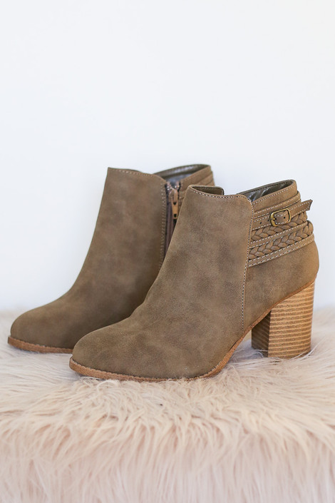 Khaki - Braided Block Ankle Booties on faux fur rug from Dress Up