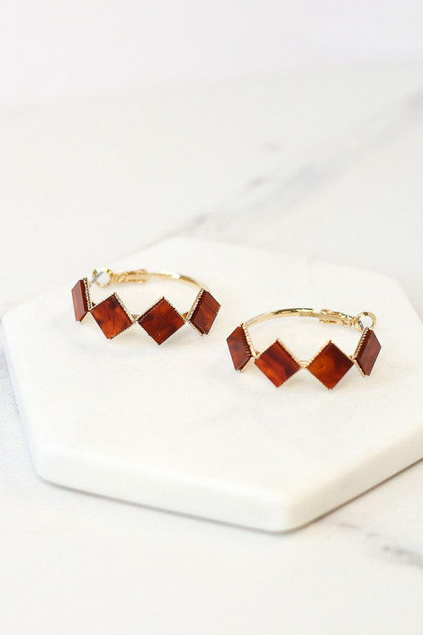 Rust - Flat Lay of the Acrylic Detailed Hoop Earrings in Rust from Dress Up