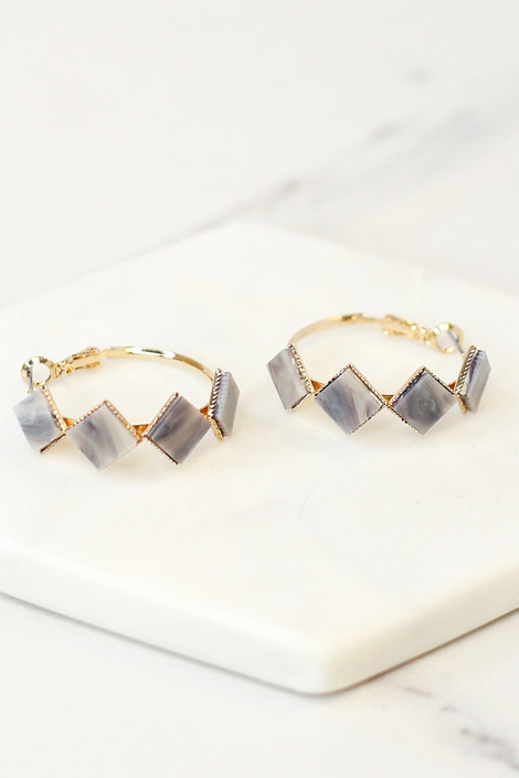 Grey - Flat Lay of the Acrylic Detailed Hoop Earrings from Dress Up