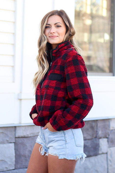 Buffalo Plaid Sherpa Quarter Zip Pullover Side View
