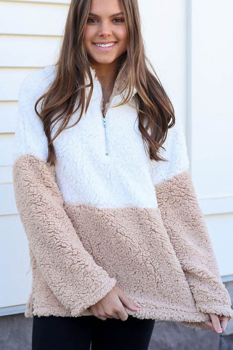 Taupe - Sherpa Quarter Zip Pullover from Dress Up