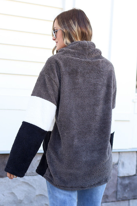 Fuzzy Knit Color Block Pullover Back View
