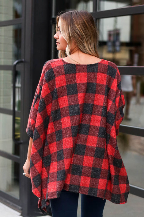 Buffalo Plaid Brushed Knit Oversized Top Back View