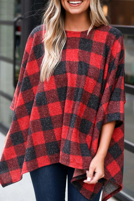 Model wearing the Buffalo Plaid Brushed Knit Oversized Top