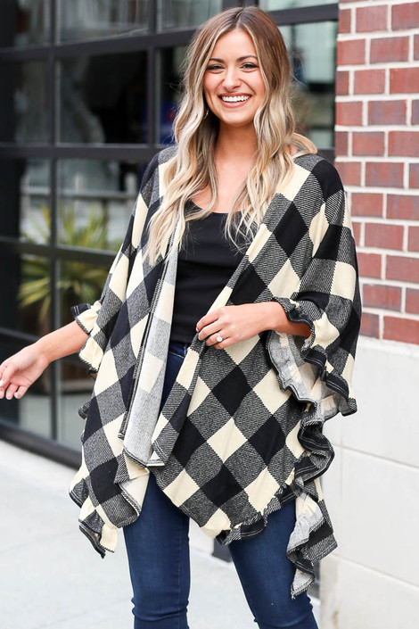 Ivory - Buffalo Plaid Ruffle Sleeve Cardigan