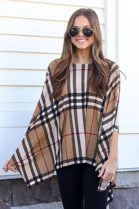 Taupe - Plaid Oversized Top