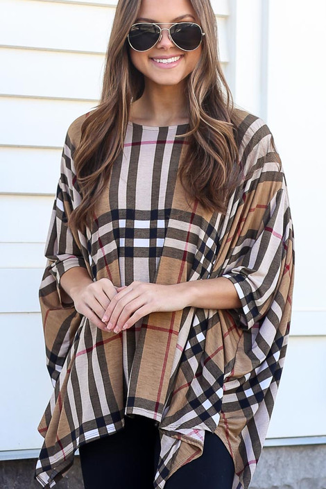 Taupe - Plaid Oversized Top from Dress Up