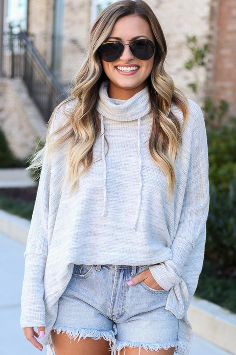 Heather Grey - Brushed Knit Cowl Neck Oversized Pullover