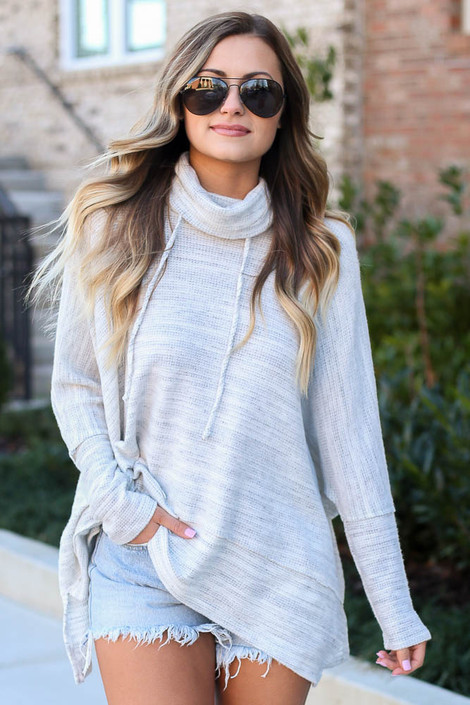 Heather Grey - Brushed Knit Cowl Neck Oversized Pullover from Dress Up