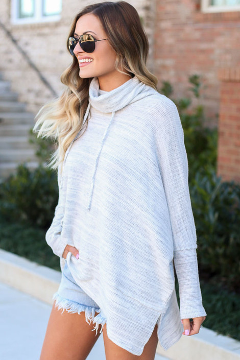 Brushed Knit Cowl Neck Oversized Pullover Side View