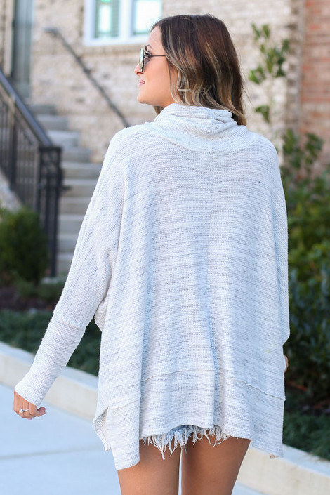Brushed Knit Cowl Neck Oversized Pullover Back View