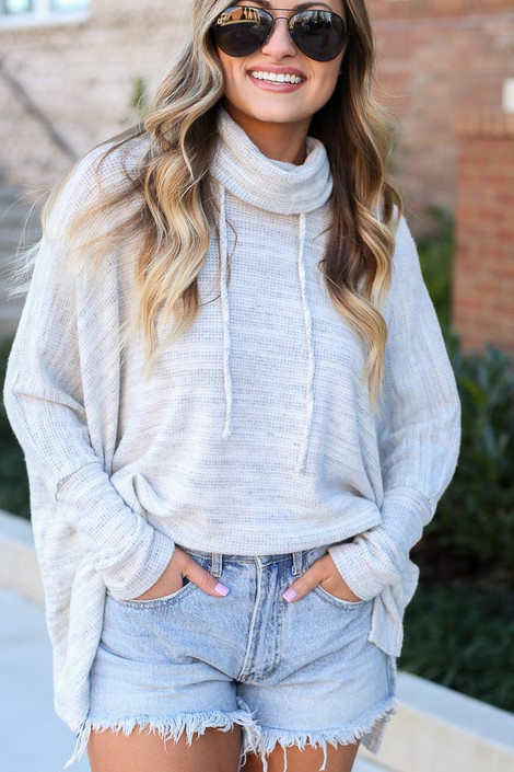 Dress Up model wearing the Brushed Knit Cowl Neck Oversized Pullover in Heather Grey