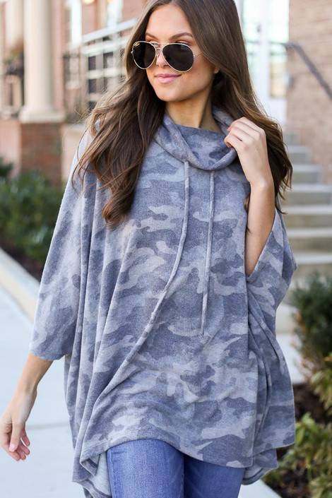 Grey - Brushed Knit Cowl Neck Camo Poncho from ShopDressUp