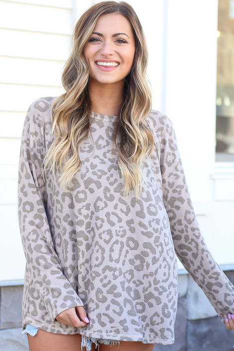 Taupe - Leopard Oversized Tie-Back Top