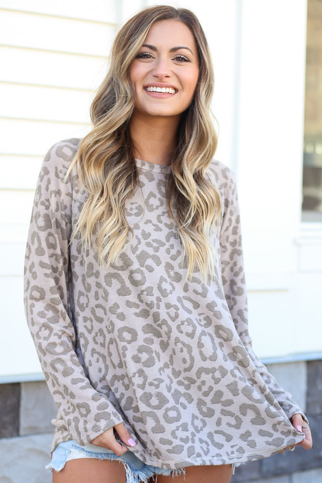 Model wearing the Leopard Brushed Knit Top from Dress Up Front  View