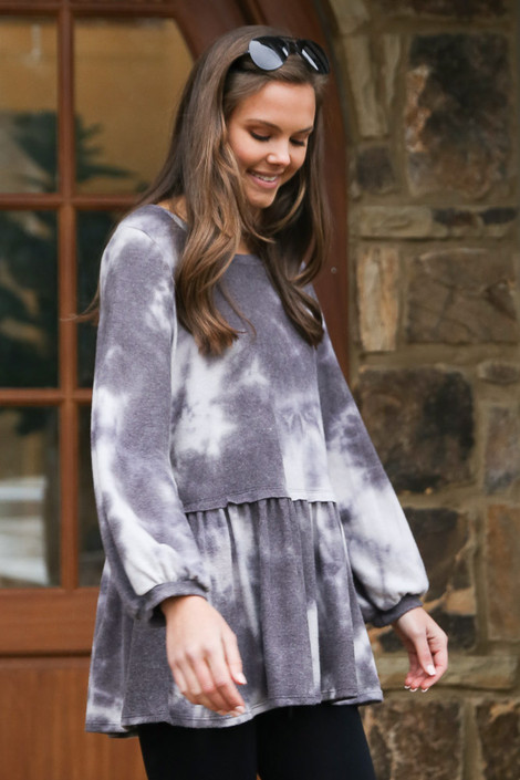 Tie-Dye Brushed Knit Oversized Babydoll Tunic Side View. Tie dye top at Dress Up Boutique