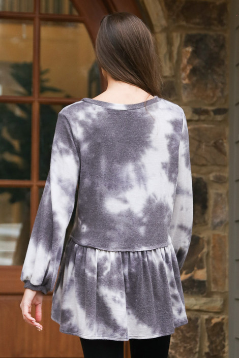 Tie-Dye Brushed Knit Oversized Babydoll Tunic Back View Tie dye top at Dress Up Boutique