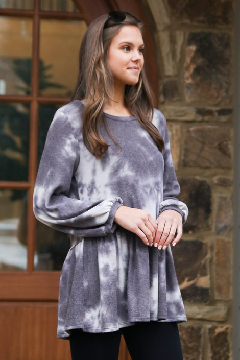 Charcoal - Tie-Dye Brushed Knit Oversized Babydoll Tunic