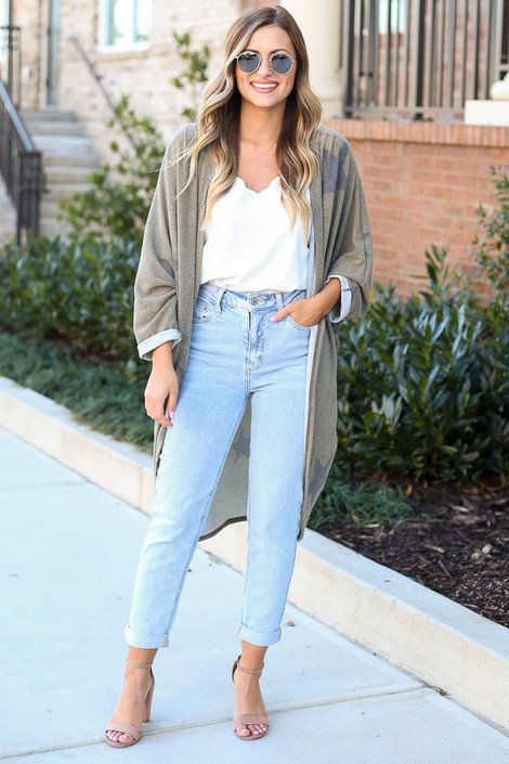 Star Brushed Knit Long Cardigan at Dress Up Boutique