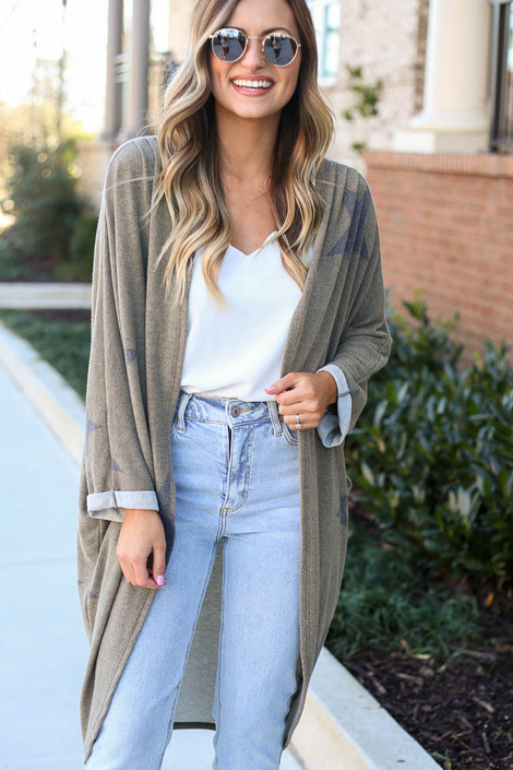 Olive - Star Brushed Knit Long Cardigan at Dress Up Boutique