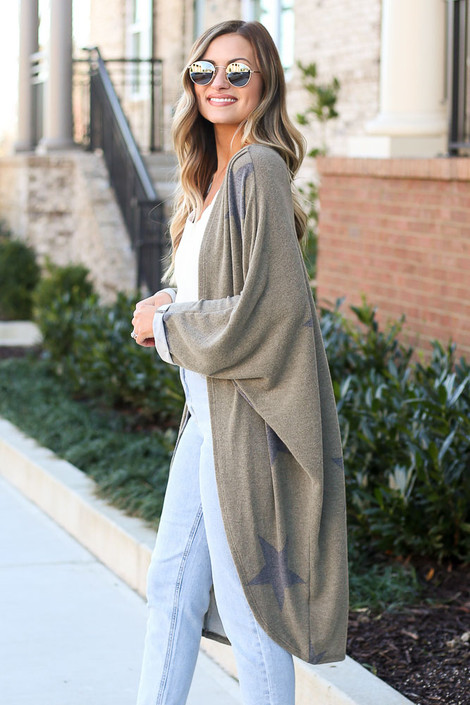 Olive - Star Brushed Knit Long Cardigan at Dress Up Boutique. women's cardigan