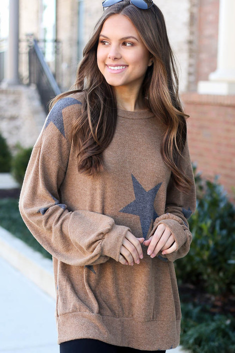 Taupe - star sweatshirt