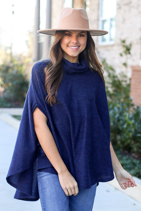Navy - Brushed Knit Cowl Neck Oversized Poncho Top. Fedora hat