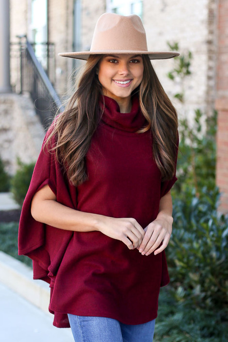 Burgundy - Brushed Knit Cowl Neck Oversized Poncho Top, Dress Up Boutique