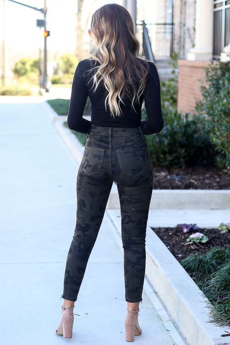 Camo Moto Jeans Back View