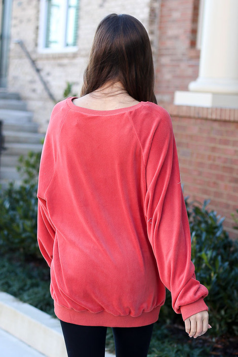 Oversized Fuzzy Knit Pullover Back View