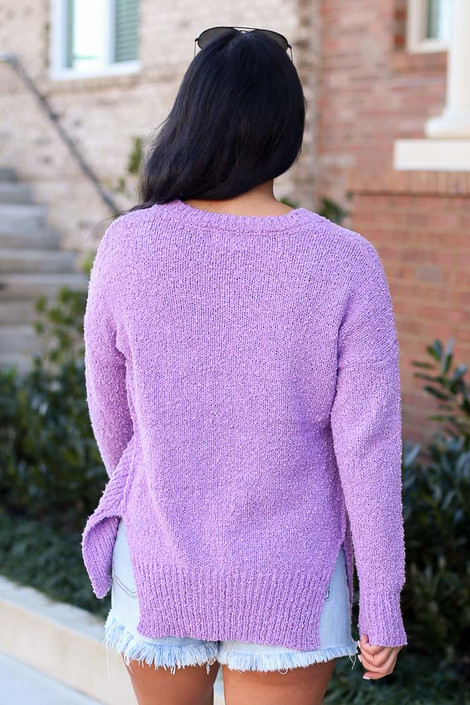 Plush Knit Sweater in Lilac Back View