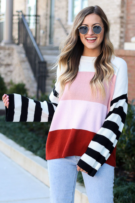 Oversized Color Block Knit Sweater